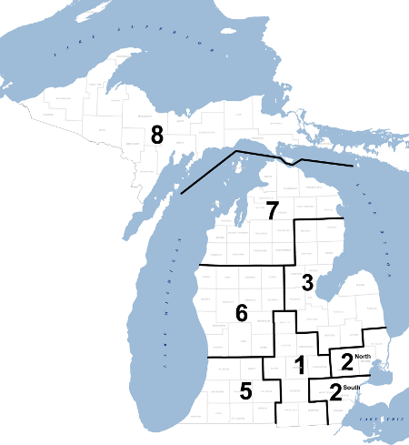 Michigan Counties Regional Map